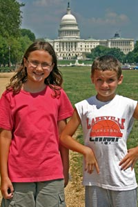 Alea and Breck in front of the Capitol