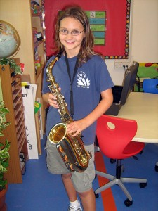 Alea with her new saxophone!
