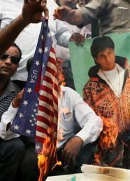 Burning a flag for Shah Rukh Khan