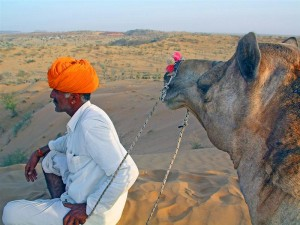 Resting during a camel trek in Rajasthan