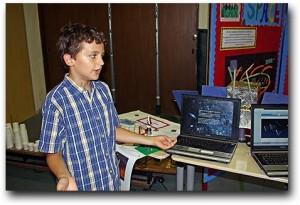 Breck presenting at his 5th grade exhibition
