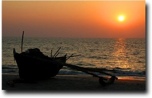 Sunset over Benaulim beach in Goa, India