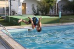 Breck trying out his flips in the pool.