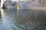 Swimming in a wadi oasis.