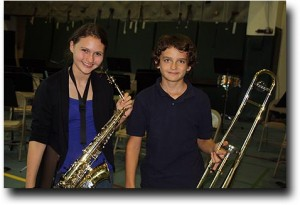 Alea and Breck with their instruments