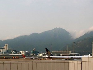 Airplanes parked at the Hong Kong Airport