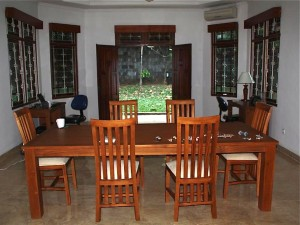 The dining room opening up to the back yard