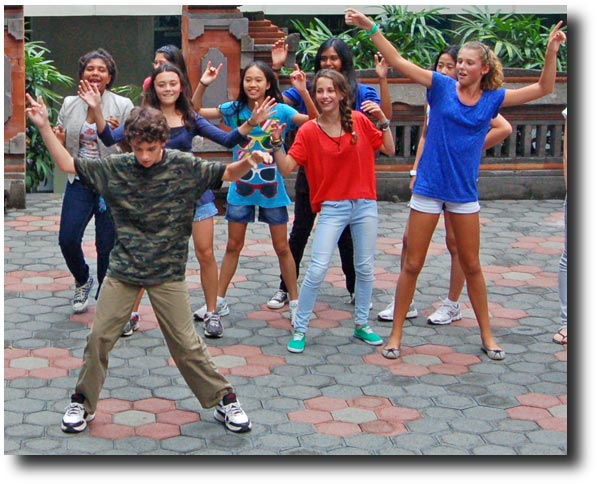 At first, it was just him with a bunch of girls - the guys were off to the left doing their own thing