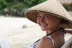 Alea enjoys her new hat as the vacation rolls to an end