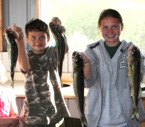 Breck and Alea with their walleye