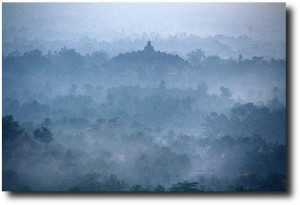Before the sun came up, the temple site was shrouded in the morning fog