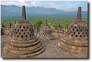 The Borodubur stupas look down over the valley below