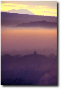 Mist in the Borobudur valley as the sun rises