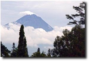 Merapi volcano propped above the clouds