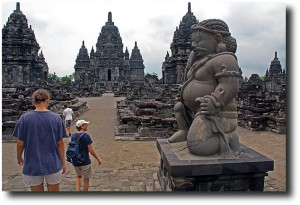 The family exploring Candi Sewu