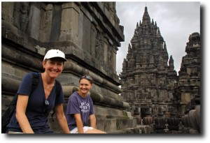 Alea and Susan in Candi Sewu