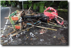 The remains of an ogoh-ogoh, a burned Nyepi effigy