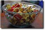 Candy, now relocated into glass bowls after the ant invasion!
