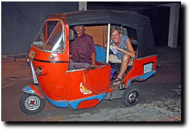 Susan risking it all in an Indonesian bajaj