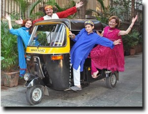 The Stutz family in an Indian rickshaw!