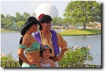 Aladdin and Jasmine with a fan