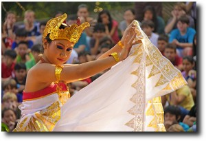 Bali dancer at the JIS middle school welcome back assembly