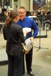 Receiving the award from Mr. Wiemers, her band teacher