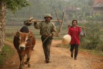 Rural life is still a matter of mostly hand and animal labor, as this rice farmer and his wife show.