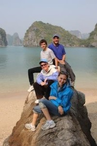 The family in Ha Long bay, Vietnam