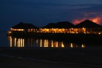 Here is a view of the resort at night from the beach.