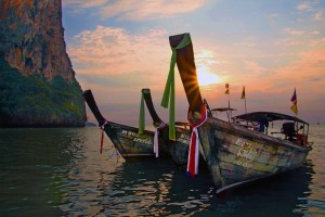 WINNER - Scenic: Longboats line up off Railay beach as the afternoon winds down.