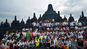 And here's the whole gang at Borobudur!