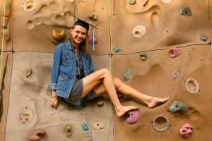 One of Alea's favorite places - the climbing wall.