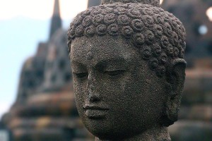 Buddha head at Borobudur