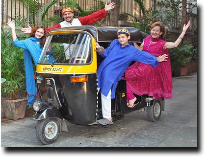 The Stutz family travelling by rickshaw!