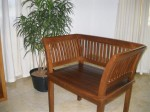 One of 2 new teak chairs - waiting for the cushions!