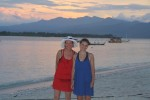Mom and Alea enjoy our final evening on Gili T