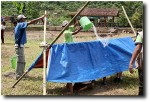 Another of the activities was to construct a shelter which would protect those inside from the monsoon rains.