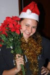 Alea is all tinselfied, poinsettiafied, and Santa hattified!