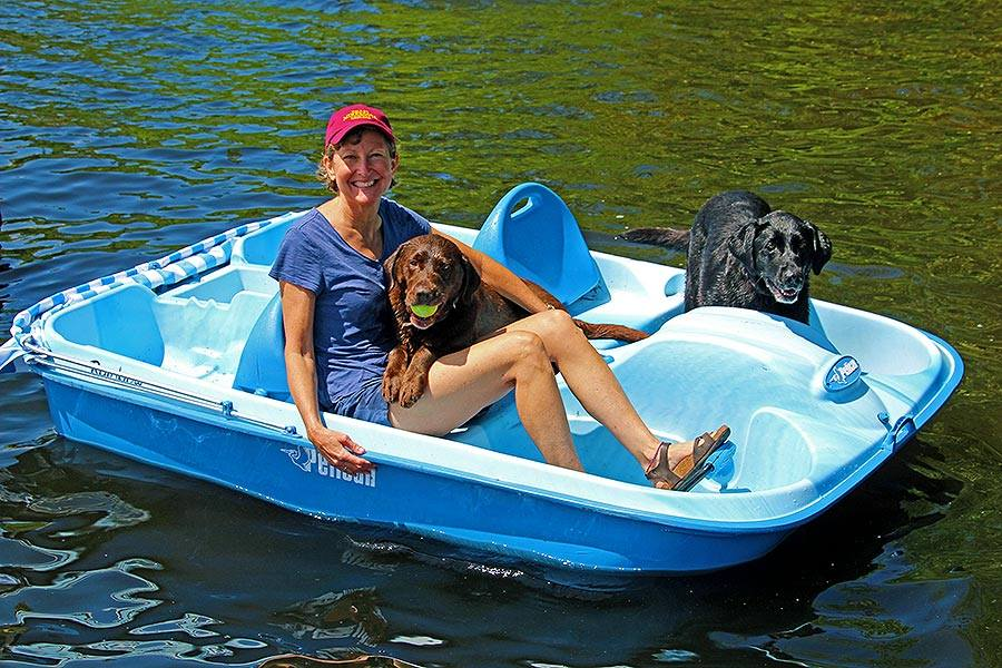 Susan plays with the labs on the paddle boat.