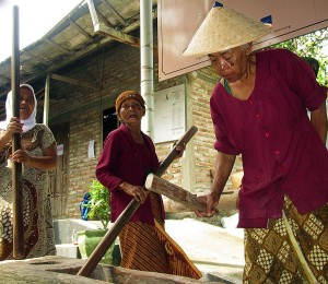 Women singing as they keep the rhythm on the rice pounder.