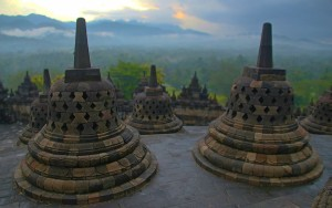 Sunset (sorta) at Borobudur