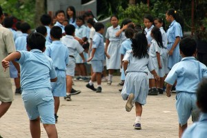 Kids playing at a local Indonesian school.