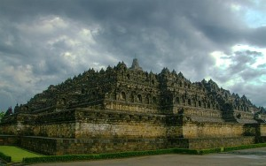 The enormous Buddhist temple of Borobudur