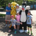 Part of our weekend in Chicago was a visit to Great America. Here all the new cousins get to know each other with Sylvester and Tweety