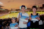 "We went to a Cubbies game, and these three got their official ""First Game at Wrigley"" certificates!"