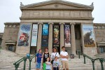 The crew gathers outside the Field Museum