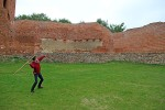 Breck tries his hand at hurling a javelin